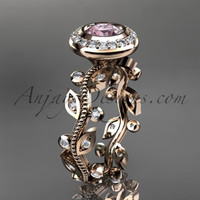 14k rose gold diamond leaf and vine wedding ring,engagement ring with Morganite center stone ADLR212
