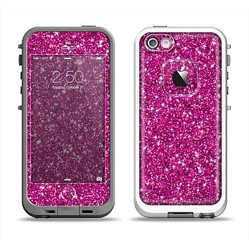 The Bright Pink Glitter Apple iPhone 5-5s LifeProof Fre Case Skin Set