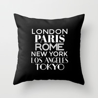Cities of the World (Black & White) Throw Pillow by CreativeAngel