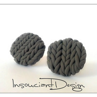 Gray Round Knitted Earrings, Polymer Clay Jewelry, Clay Earrings, Knitted Jewellery, December Gifts, Christmas Sale, Gifts For Sister