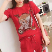 """""""LOUIS VUITTON"""" Women Casual Fashion Sequin Cat Letter Printing  Short Sleeve Trousers Set Two-Piece Sportswear"""