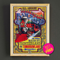 Disneyland Vintage Railroad at the Main Street Attraction Poster Reprint Home Wall Decor Gift Linen Print - Buy 2 Get 1 FREE - 383s2g