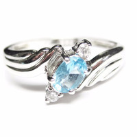 Blue and White Topaz Sterling Ring Size 10