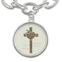First Holy Communion Cross with Dove and Heart Charm Bracelet