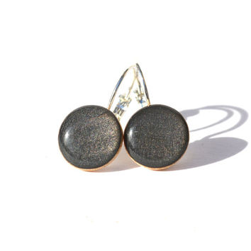 Charcoal grey dangle earrings fall jewelry minimalist jewelry wood jewelry holiday jewelry eco-friendly unique gift for her