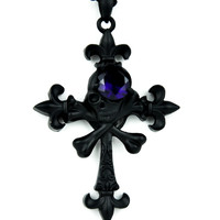Skull & Cross Bones with Purple Stone Necklace Pirate Pendant