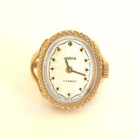 Rare Soviet vintage gold plated Ladies Mechanical Watch Ring CHAIKA