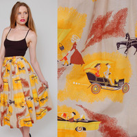 Vintage 50s Skirt NOVELTY Print Horse & Buggy and Antique Cars Retro Mad Men