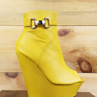 """India Open Toe Platform Wedge Ankle Boot Shoes Yellow - 6.5"""" heels"""