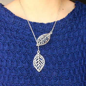 Handmade Forest Leaf Long Necklace in Gold or Silver, Hollow Cut Design, Handmade Jewelry, Birthday Gift, Metal Necklace, Bohemian Necklace
