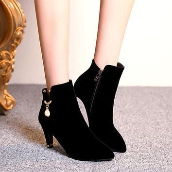 Pearl Ankle Boots High Heels Women Shoes Fall|Winter 3512