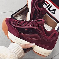 FILA Daddy shoes increase velvet red shoes