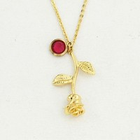 Rose Necklace gold color Personalized custom Birthstone charm Necklace Final Rose Flower Beauty and the Beast Jewelry Women Bff