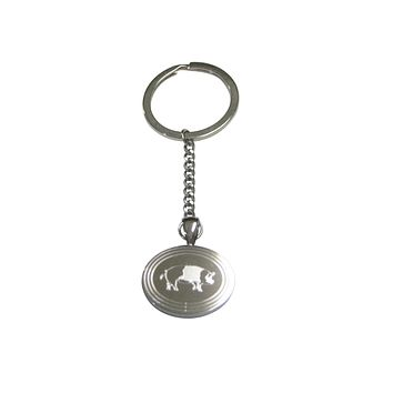 Silver Toned Etched Oval Pig Pendant Keychain