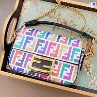 Fendi New fashion multicolor more letter floral print leather chain handbag shoulder bag crossbody bag women 1#