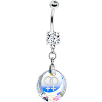 Handcrafted Austrian Crystal Female Gay Pride Belly Ring | Body Candy Body Jewelry