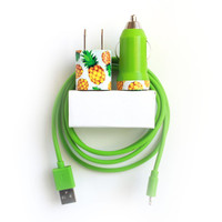 Pineapple iPhone Charger  for iPhone iPhone 7,7+ | iPhone 6,6s | iPhone 5,5s,5c,SE incl 4ft Belkin green cable, wall adapter & car charger