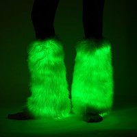 Light Up Fuzzy Legging Fluffies Glow Fur LED fur el wire