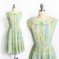 Vintage 1950s Dress - Floral Green Cotton Full Skirt Semi-Sheer Day Dress 50s - Small
