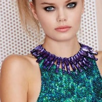 Lilac Attack Jeweled Collar Necklace