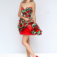Floral Printed Sherri Hill Short Prom Gown 50028
