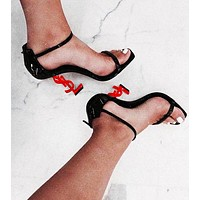YSL new fashion letters with metal profile and simple word with open toe high heel sandals 12#