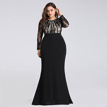Lace Patchwork Long Sleeve Slim Bodycon Party Dress