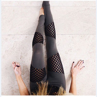 Slim fit Meshed see-through Sport Yoga Exercise Leggings