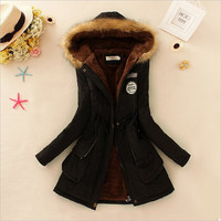 Winter women coat Women's Parka Casual Outwear Military Hooded fur Coat Down Jackets Winter Coat for Female