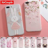 Fashion Colorful Flower Rabbit Case For iphone 7 Case Cute Cartoon Animal Back Cover Phone Cases For iphone 6 6S 6/7PLus