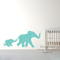 Mom and Baby Elephants Blue Plants Patterned Printed Fabric Wall Decal Sticker
