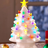 White Large Retro Lighted Tabletop Christmas Tree With Star Holiday Home Decor