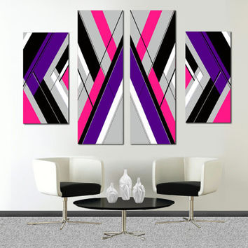 Made to order- 57x36 Original abstract painting on canvas. Large painting. Girly painting with pink, purple, gray. 4 piece canvas art.