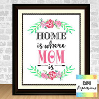 Mother's Day Art Print, Home Is Where Mom Is, Printable Mothers Day Gift Wall Decor, Floral Print Mother's Day Wall Art, Digital File