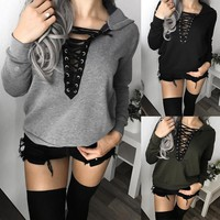 Lace Up V-Neck Knitted Sweater Oversized