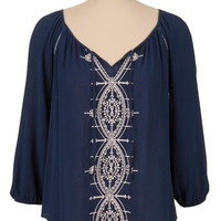 Embroidered flowy peasant top