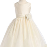 Ivory Shantung & Tulle Blossom Flower Girl Dress with Floating Flower Petals (Girls 2T - Size 12)