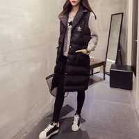 """Adidas"" Women Fashion Solid Color Sleeveless Middle Long Section Tailored Collar Cotton-padded Clothes Vest Jacket Coat"