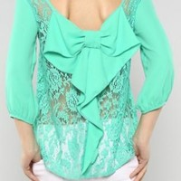 Mint Lace Bow Back Top