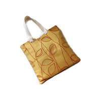 Upholstery tote bag, orange yellow leafy tote bag