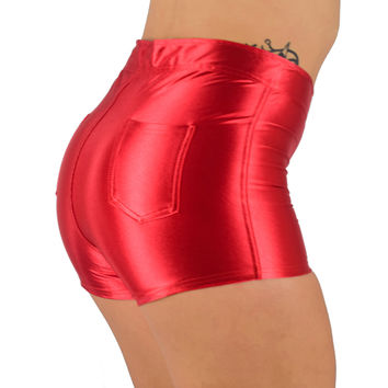 High Waisted Red Shorts for Raves