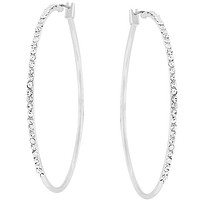 Gwen Large CZ Silver  Hoop Earrings