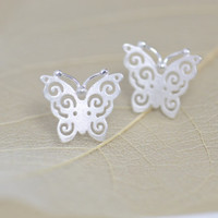 Silver Hollow Butterfly Earring, Handmade Hollow Butterfly Ear Studs, Bridesmaid Earrings, Bridal, Wedding, Christmas, Birthday, Gift