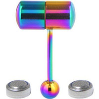 Vibrating Tongue Ring Stainless Steel Body Piercing With 2 Batteries Multicolor