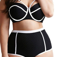High Waisted Swimwear High Cut Swimsuit Push Up Bra Padded Bikini Bathing Suit Plus Size XL-4XL = 1946121988