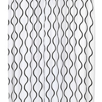 """Royal Bath Squiggly Lines Geneva Fabric Shower Curtain with Poly Taffeta Flocking in Black/White Size: 70"""" x 72"""""""