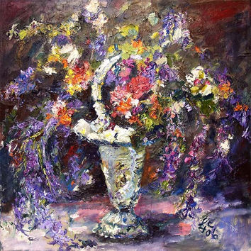 Impressionist Lavender Flower Still life Original Oil Painting Modern Impressionist 24 by 24 inches by Ginette Callaway