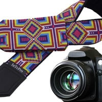 Inspired by Native Americans pocket camera strap. Blue, purple, yellow ornaments. Bright pocket camera strap with monogram option by InTePro