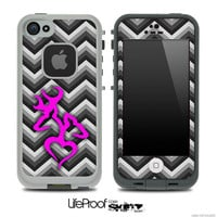 Black and White Chevron with Pink Heart Deer Logo Skin for the iPhone 4/4s or 5 LifeProof Case