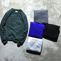 """""""Burberry"""" Men Simple Casual Letter War Horse Embossed Long Sleeve Sweater Solid Color Tops"""
